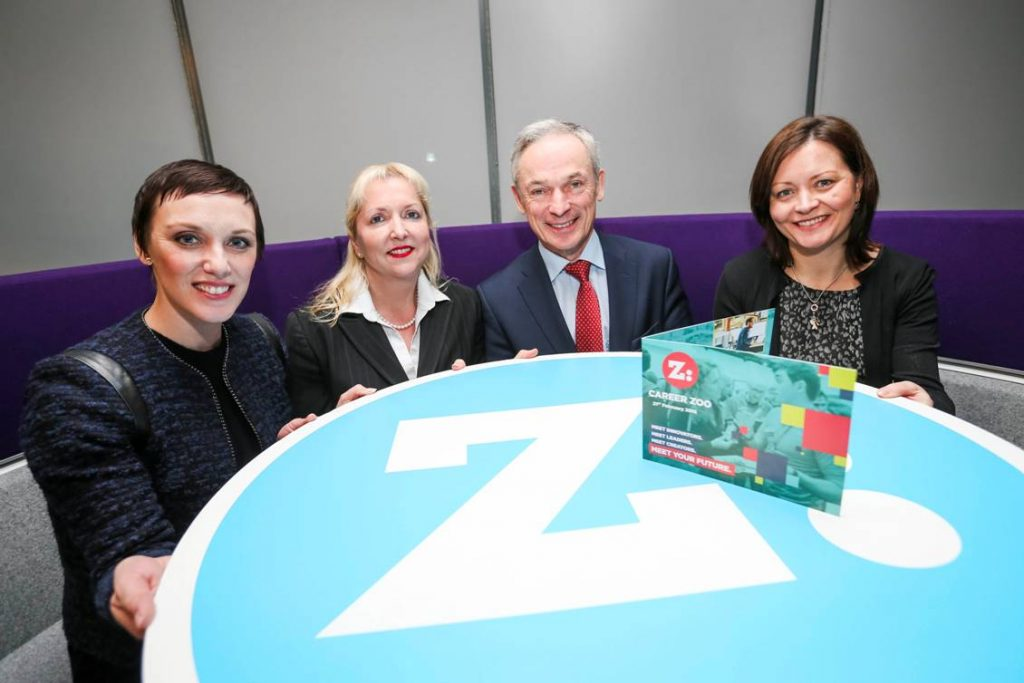 Pictured are Jackie Slattery, Director at Career Zoo, Julie Sharp, Head of Group HR, Bank of Ireland, Minister Richard Bruton and Cathy Donnelly, HR Director, Liberty IT at the launch of Career Zoo